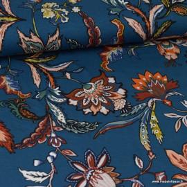 Tissu Jersey Viscose motif fleurs fond Bleu