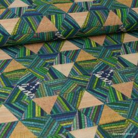 Tissu coton imprimé Triangles façon Canevas Vert - oeko tex