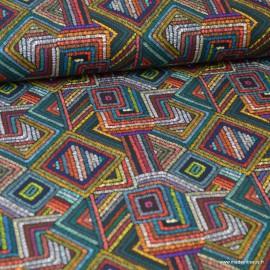 Tissu coton imprimé Triangles et losanges multicouleurs - oeko tex