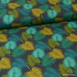Tissu popeline coton imprimé feuilles de palme vert, pétrole et ocre