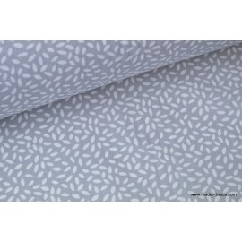 Tissu coton imprimé dessin grains de blé gris .x1m