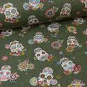 Tissu Toile de coton Canva imprimé tête de mort calaveras Kaki