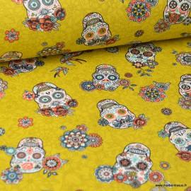 Tissu Toile de coton Canva imprimé tête de mort calaveras Curry