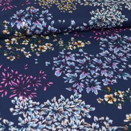 Tissu Viscose motif fleurs fond bleu