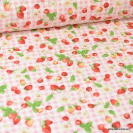Tissu coton motifs fruits rouges - Oeko tex