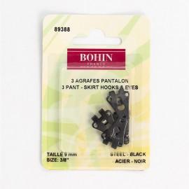 Agrafes Pantalons ou jupes  - Noir -  9mm - Bohin