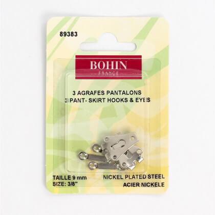 Agrafes Pantalons ou jupes  - acier nickelé -  9mm - Bohin
