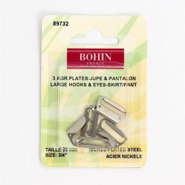 Agrafes plates pour Pantalons ou jupes  - acier nickelé -  20mm - Bohin
