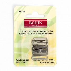 Agrafes plates pour Pantalons ou jupes  - acier nickelé -  25mm - Bohin