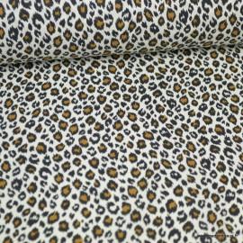 Tissu coton motif Léopard fond écru - Oeko tex