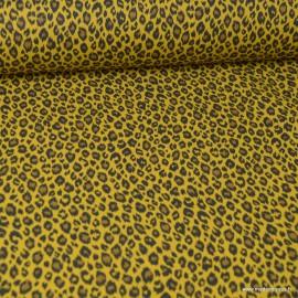 Tissu coton motif Léopard fond Savane - Oeko tex