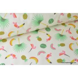 tissu  coton imprimé perroquet CARAIBES .x1m
