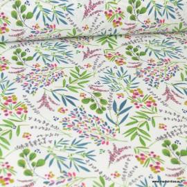 Tissu coton imprimé petites fleurs Genevrier - Oeko tex