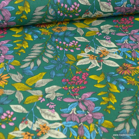 Tissu coton imprimé petites fleurs Glycines Vert - Oeko tex