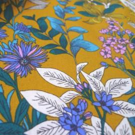 Tissu coton imprimé petites fleurs Glycines Moutarde - Oeko tex