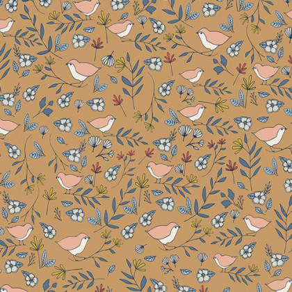 Tissu coton oiseaux et fleurs fond ocre by Art Gallery Fabrics .x1m