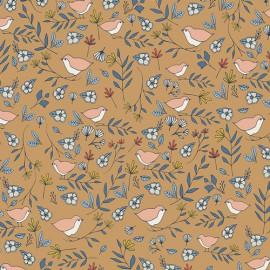 Tissu coton oiseaux et fleurs fond ocre by Art Gallery Fabrics