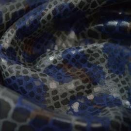 Tissu Scuba aspect faux cuir aspect serpent pétrole et gris