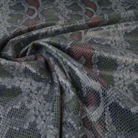 Tissu Scuba aspect faux cuir aspect reptile gris et rouge