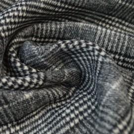 Tissu Lainage à carreaux tartan Noir et blanc