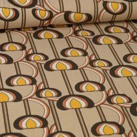 Tissu Jersey Viscose motif Vintage fond beige
