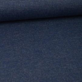 Tissu maille laine tartan bleu