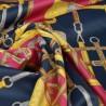 Tissu satin microfibre motifs sangles Fuchsia et marine