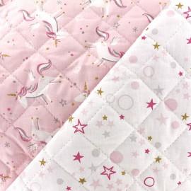 Tissu Matelassé coton double face thème Licornes et étoiles Celo