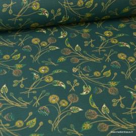 1 coupon de 50 cm de Tissu coton imprimé fleurs Nancy  fond vert - Oeko tex