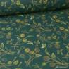 Tissu coton imprimé fleurs Nancy  fond vert - Oeko tex
