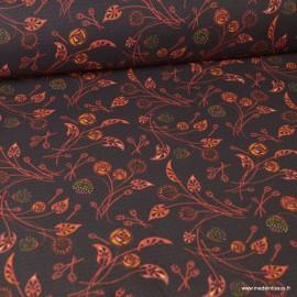Tissu coton imprimé fleurs Nancy  fond rouge - Oeko tex
