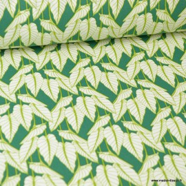 Tissu coton imprimé feuilles Horta fond vert - Oeko tex
