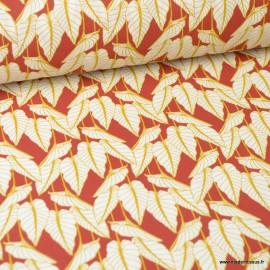 Tissu coton imprimé feuilles Horta fond rouge - Oeko tex