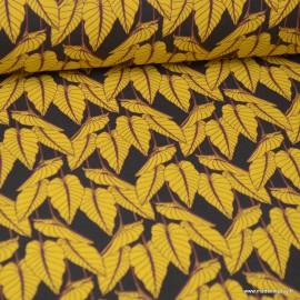 Tissu coton imprimé feuilles Horta fond Anthracite - Oeko tex