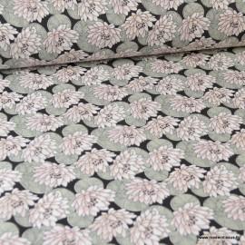 Tissu coton imprimé Nénuphar Dragée fond Noir
