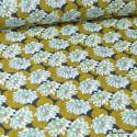 Tissu coton imprimé Nénuphar Jade fond marine - oeko tex