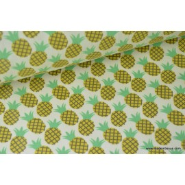 tissu popeline coton imprimé ananas CARAIBES x 50cm