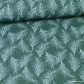 Tissu popeline coton imprimé feuilles menthe fond vert