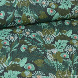 Tissu popeline coton imprimé feuilles et fleurs vert - Morris - oeko tex