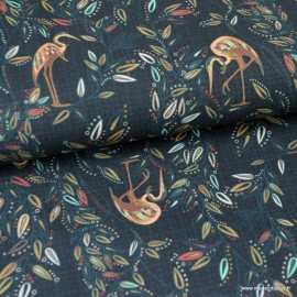 Tissu popeline coton imprimé Oiseaux Heron et fleurs - oeko tex