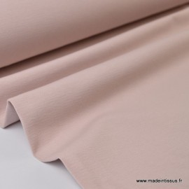 Tissu JERSEY coton elasthanne rose poudré x1m