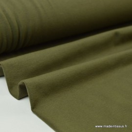 Tissu JERSEY coton élasthanne kaki