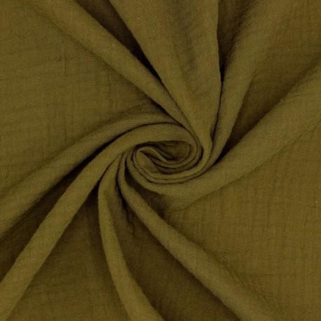 Tissu Double gaze coton kaki bronze