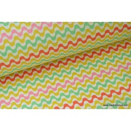 tissu popeline coton imprimé ondulations CARAIBES x 50cm