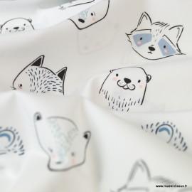 Tissu coton motifs renards et phoques -  Art Gallery Fabrics