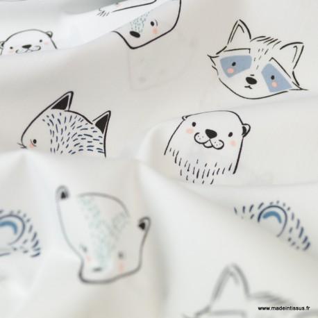 Tissu coton motifs renards et phoques -  Art Gallery Fabrics .x1m