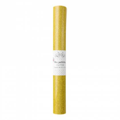 Flex Thermocollant - coupon 50 x 25 cm - Glitter Paillettes Or