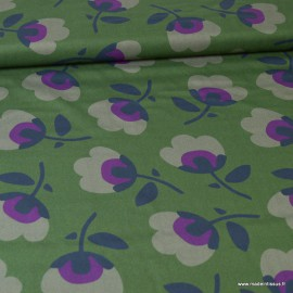 "Tissu Bio Viscose Rayon coton à fleurs fond vert ""Business Class"" by Cloud9 .x1m"