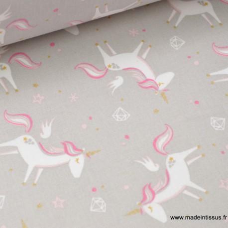 Tissu 100%coton dessin LICORNES GRISES x50cm