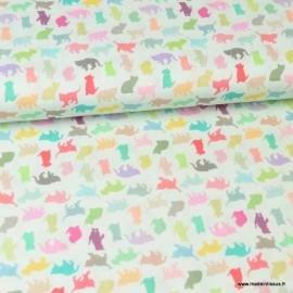 Tissu popeline coton imprimé chats et chatons fond vert menthe